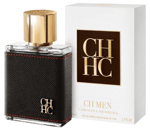 Frasco do perfume masculino Carolina Herrera, com e sem embalagem