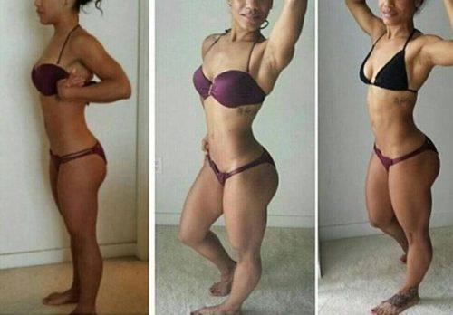 Mulher com pernas definidas apos uso de suplementos.
